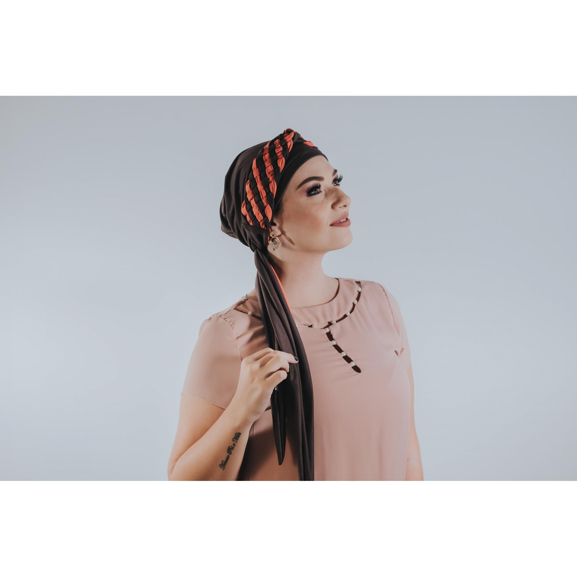 Turbante Marrom + Tiara de trança larga ELOS coral e marrom