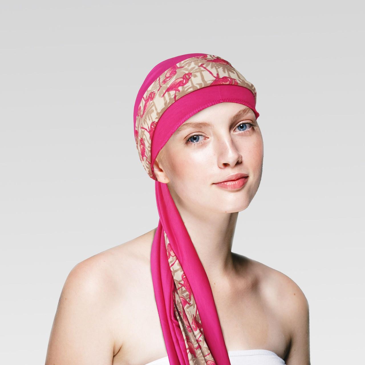 Turbante na cor desejada + Faixa Flamingo