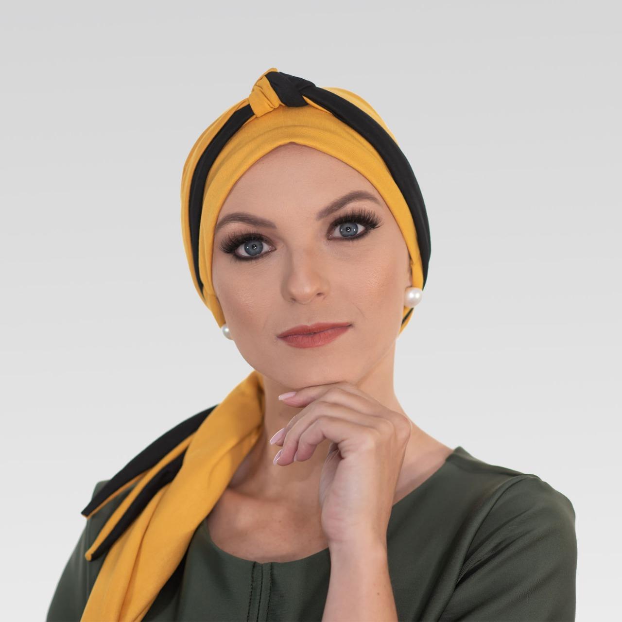 Turbante na cor desejada + Tiara de Nó na cor escolhida com preto