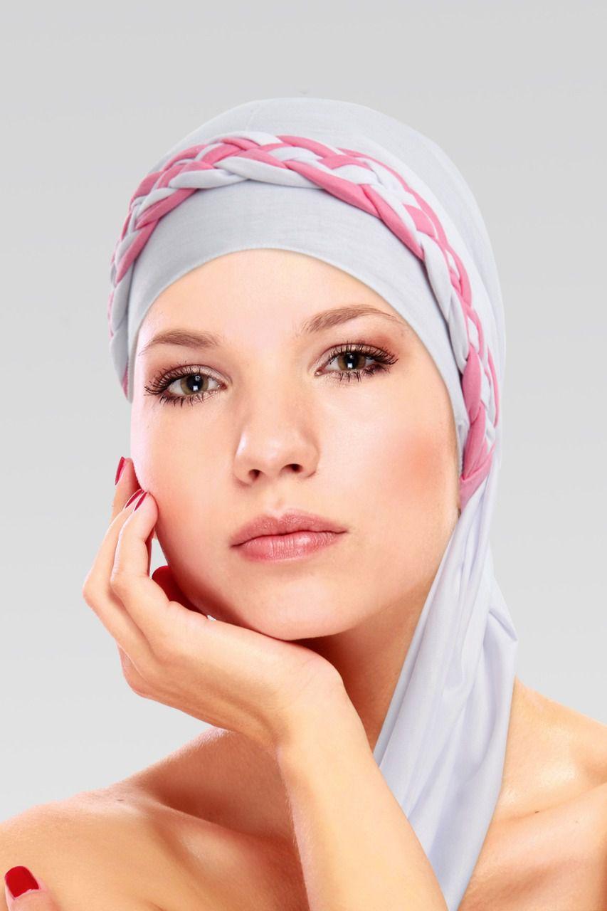 Turbante na cor desejada + Trança simples Branco com Rosa chiclete