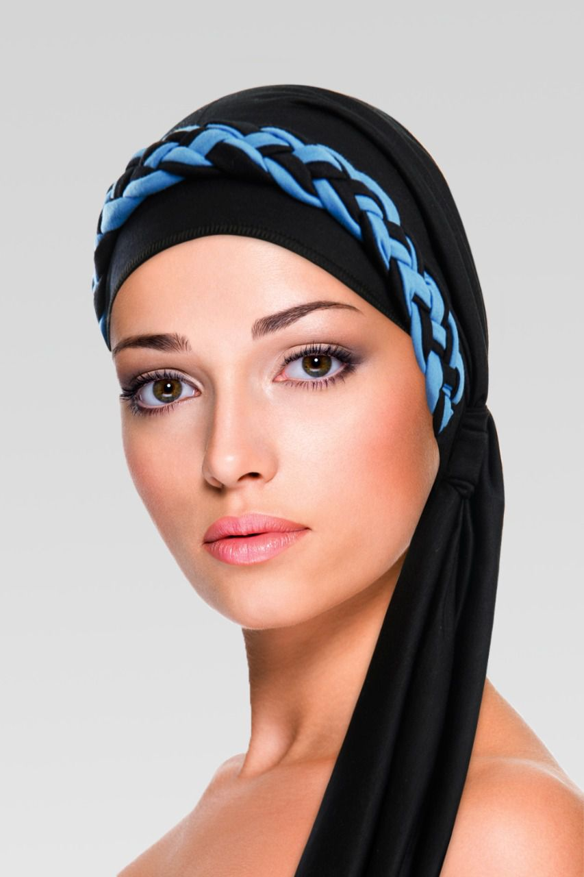 Turbante na cor desejada + Trança simples Preto com Azul Turquesa
