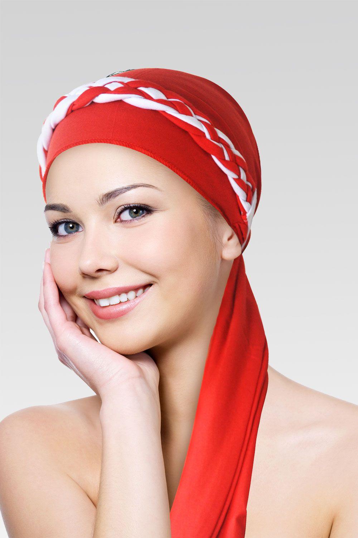 Turbante na cor desejada + Trança simples vermelho com branco
