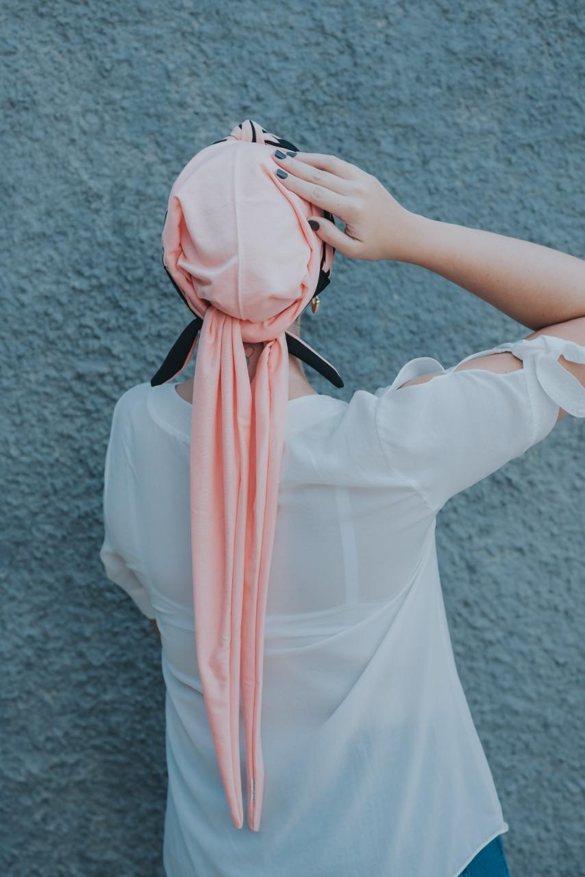 Turbante Pêssego Escuro + Tiara de Elos Pêssego Escuro e Preto
