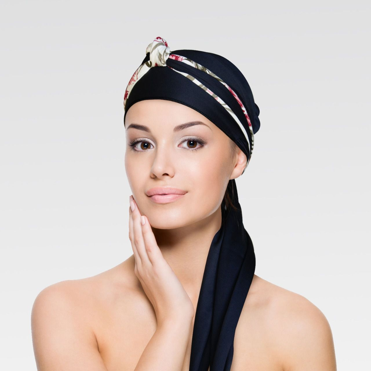 Turbante Preto com Proteção UV + Tiara de Nó