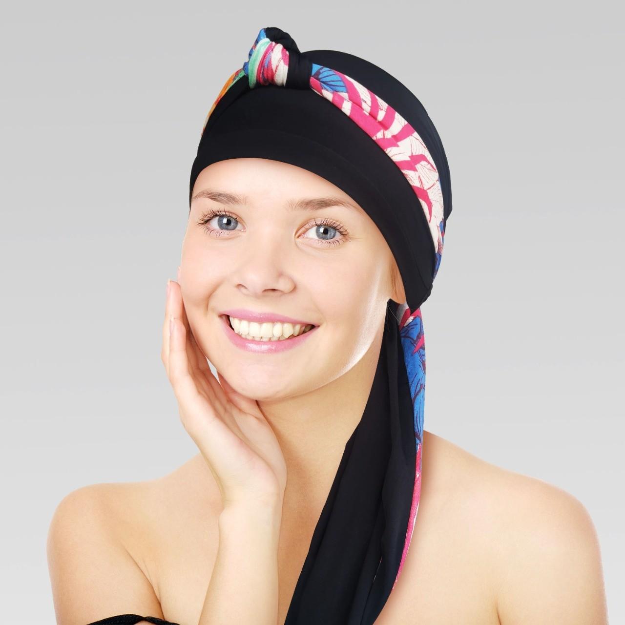 Turbante Preto com Proteção UV + Tiara de Nó Preto e estampa Cold