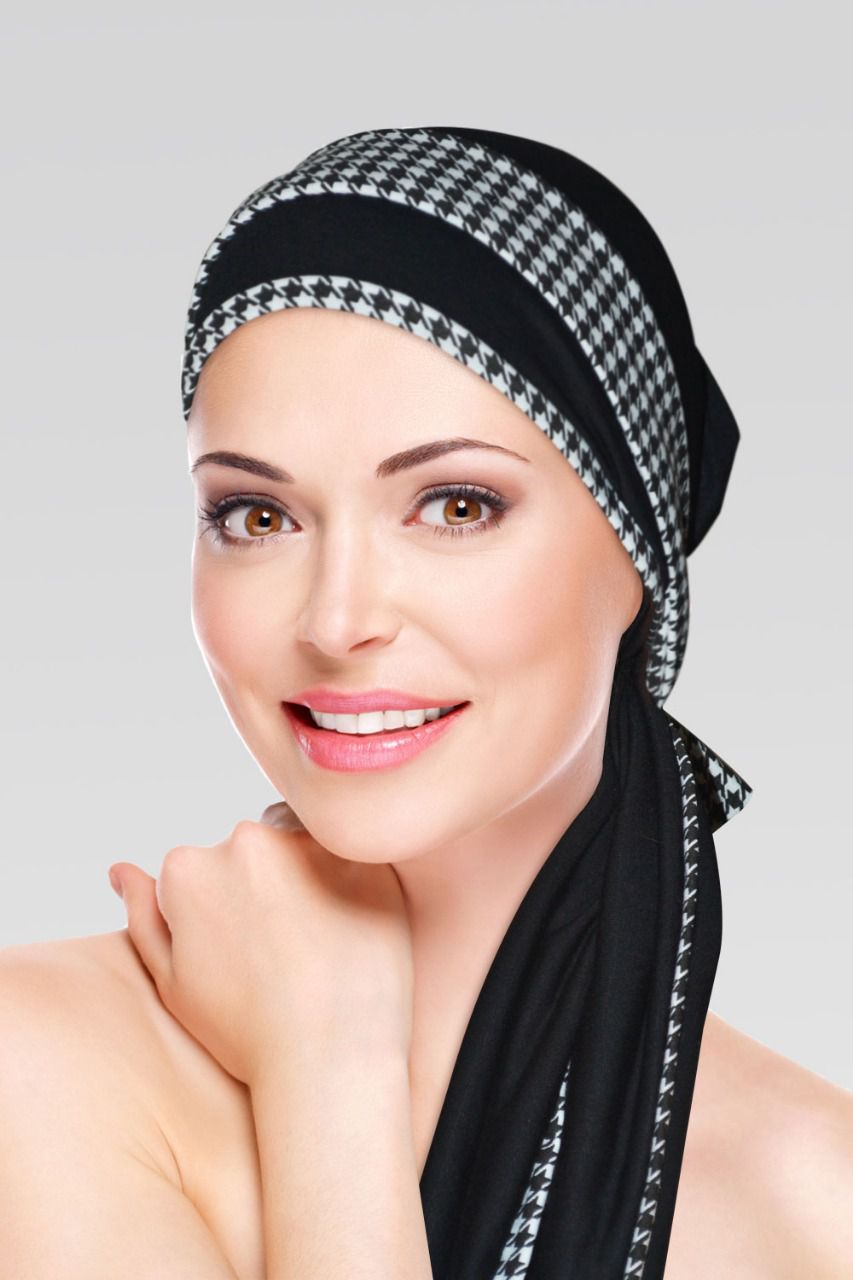 Turbante Preto com viés Pet Pule + Tiara da mesma estampa do viés