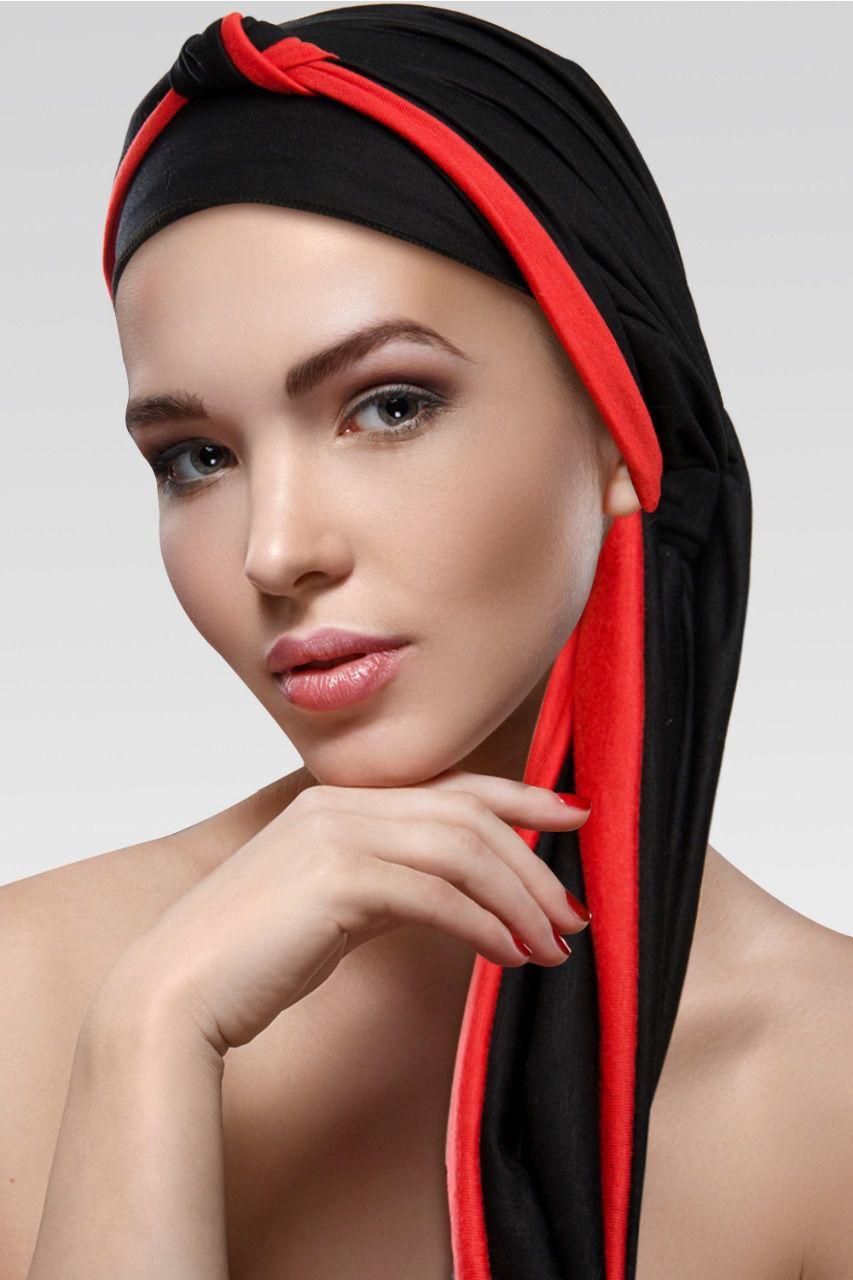 Turbante Preto + Tiara de Nó na cor desejada com Preto