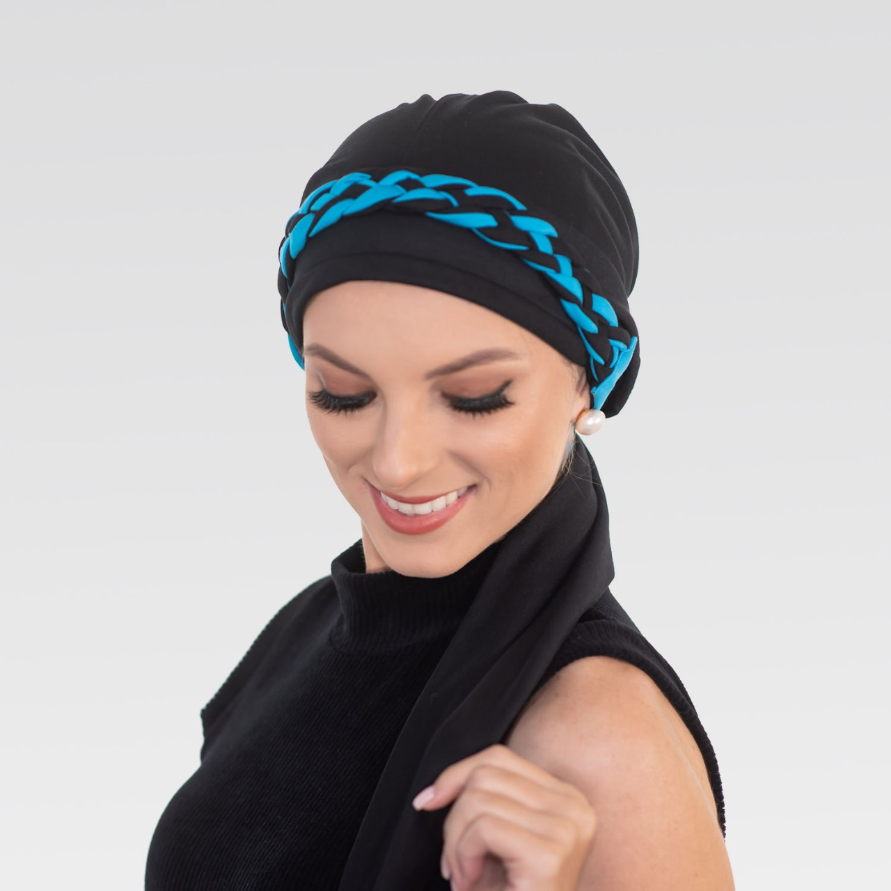 Turbante Preto + Trança simples Preto com Azul Turquesa