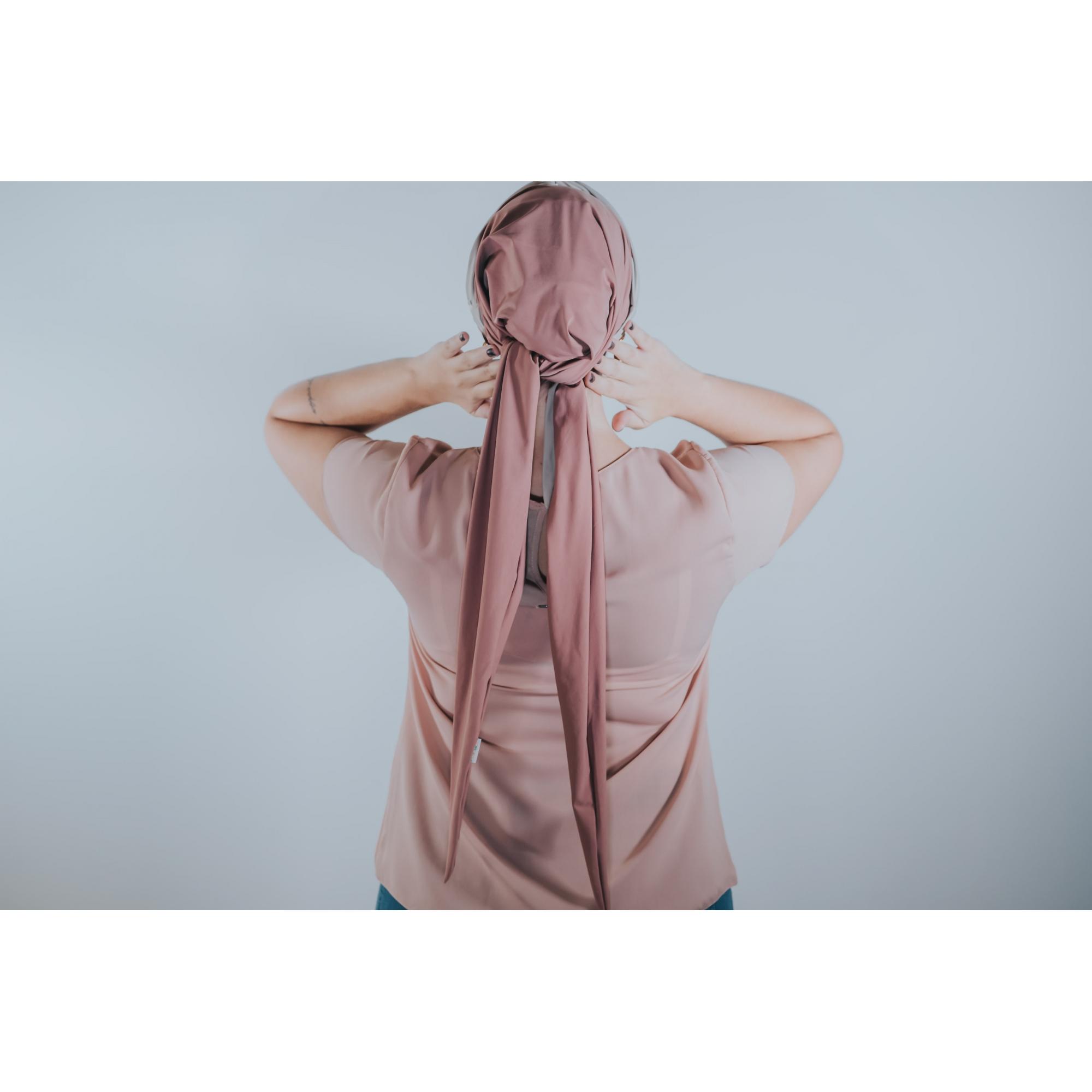 Turbante Rosa Velho com Proteção UV+ Tiara de Argolas Bege