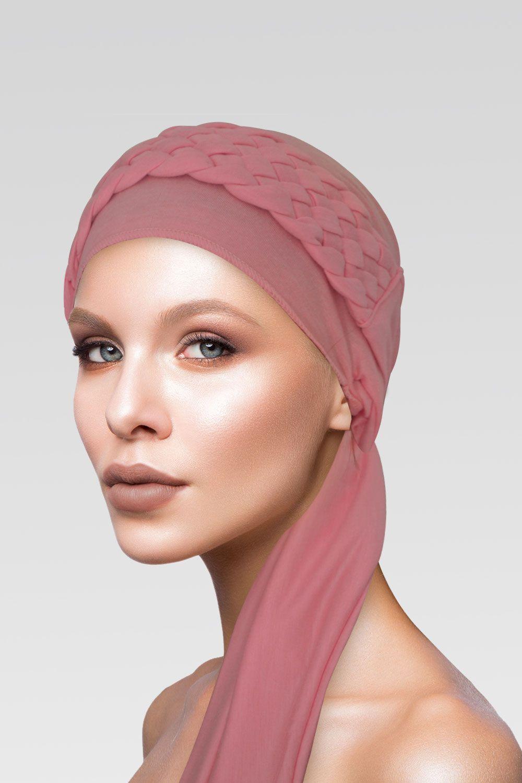 Turbante + Trança Larga na cor Rosa Velho