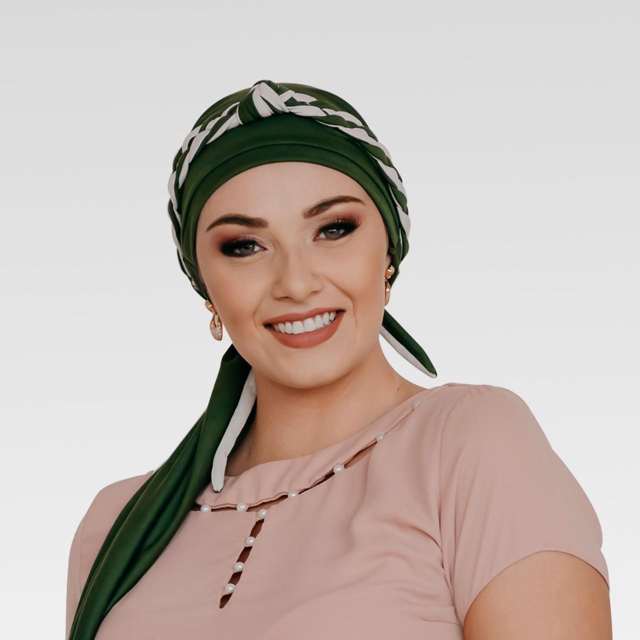 Turbante Verde Musgo + Tiara de Elos Verde Musgo e Bege