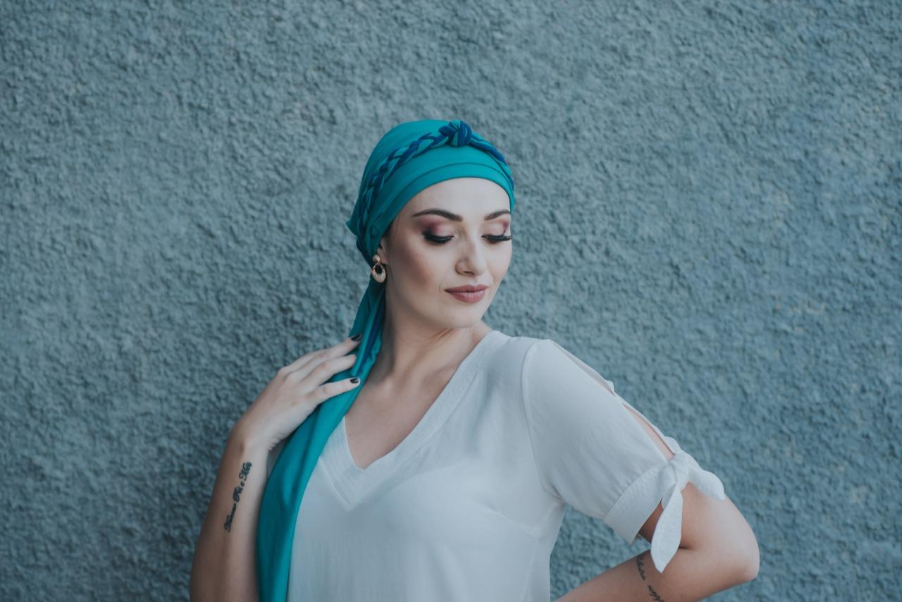 Turbante Verde Piscina + Tiara de ELOS Verde Piscina e Azul Royal