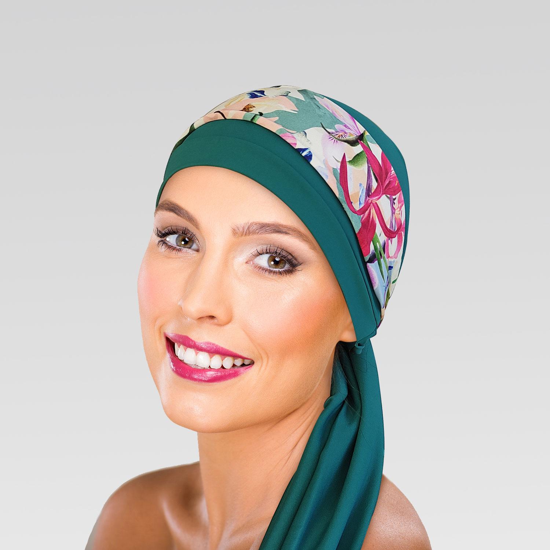 Turbante Verde Turquesa com Proteção UV + Tiara Moale