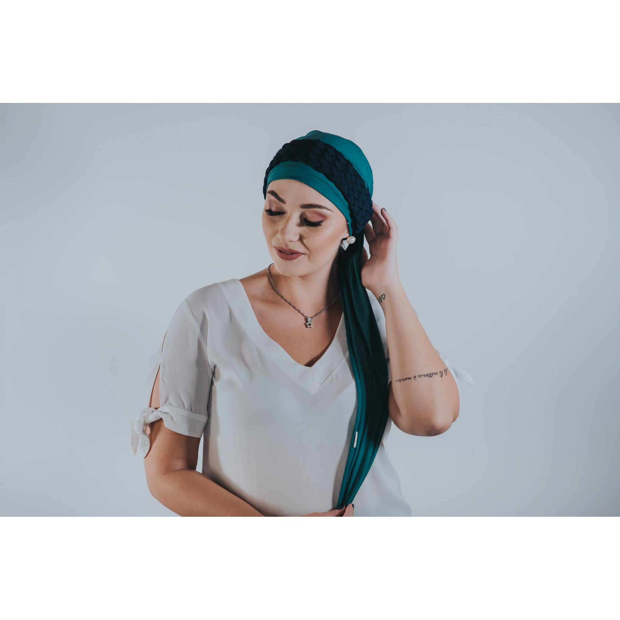 Turbante Verde Turquesa com Proteção UV + Tiara de trança Larga Azul Marinho