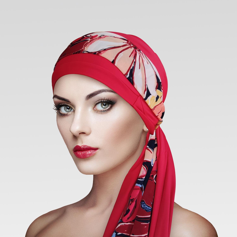 Turbante Vermelho Queimado com Proteção UV + Faixa Flores