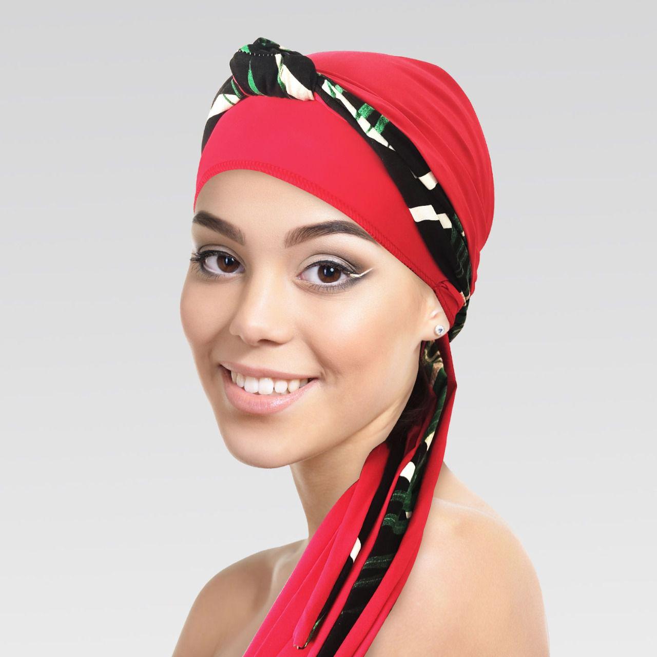 Turbante Vermelho Queimado com Proteção UV + Tiara de nó