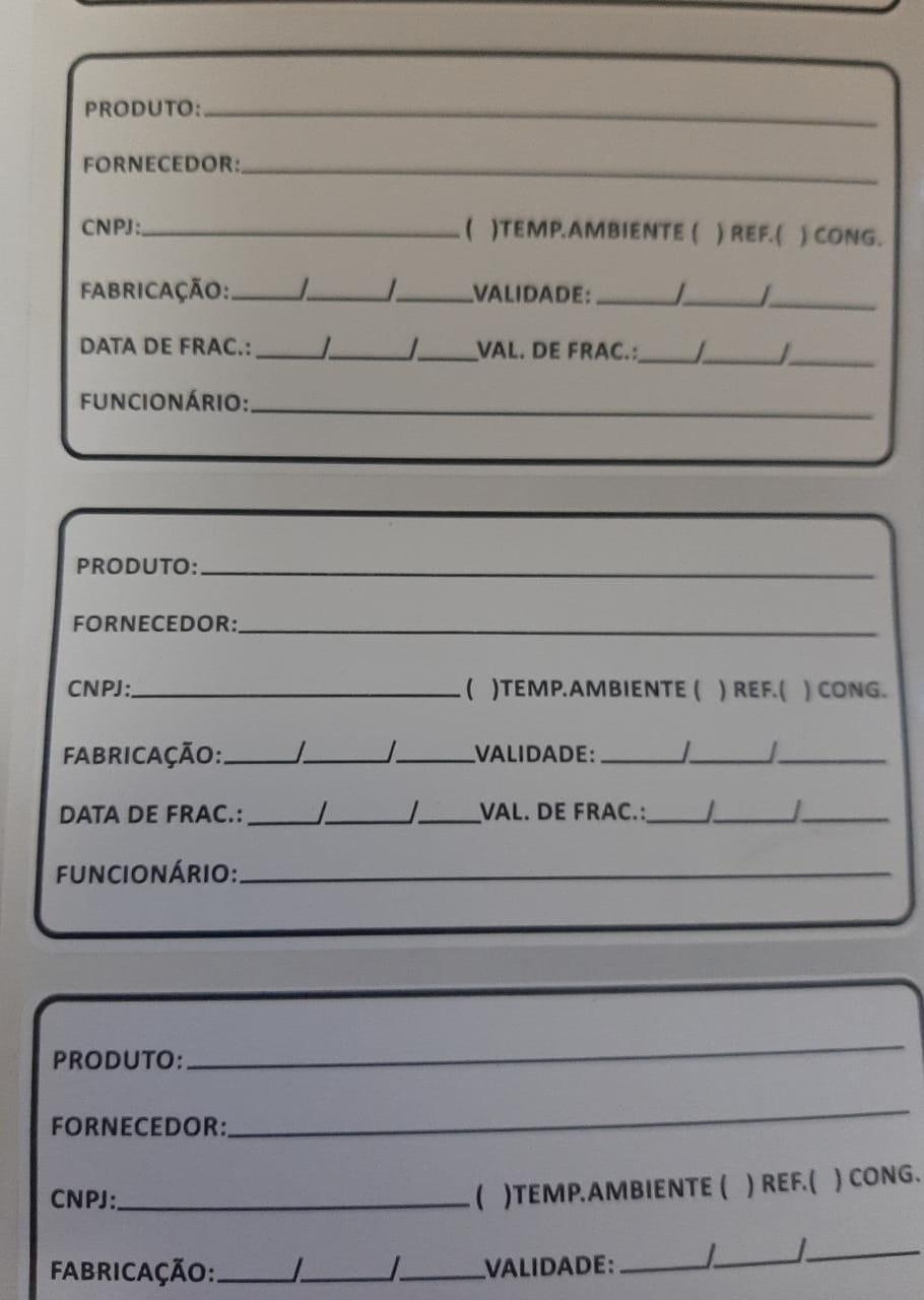 Etiqueta para identificaçao de alimentos Anvisa
