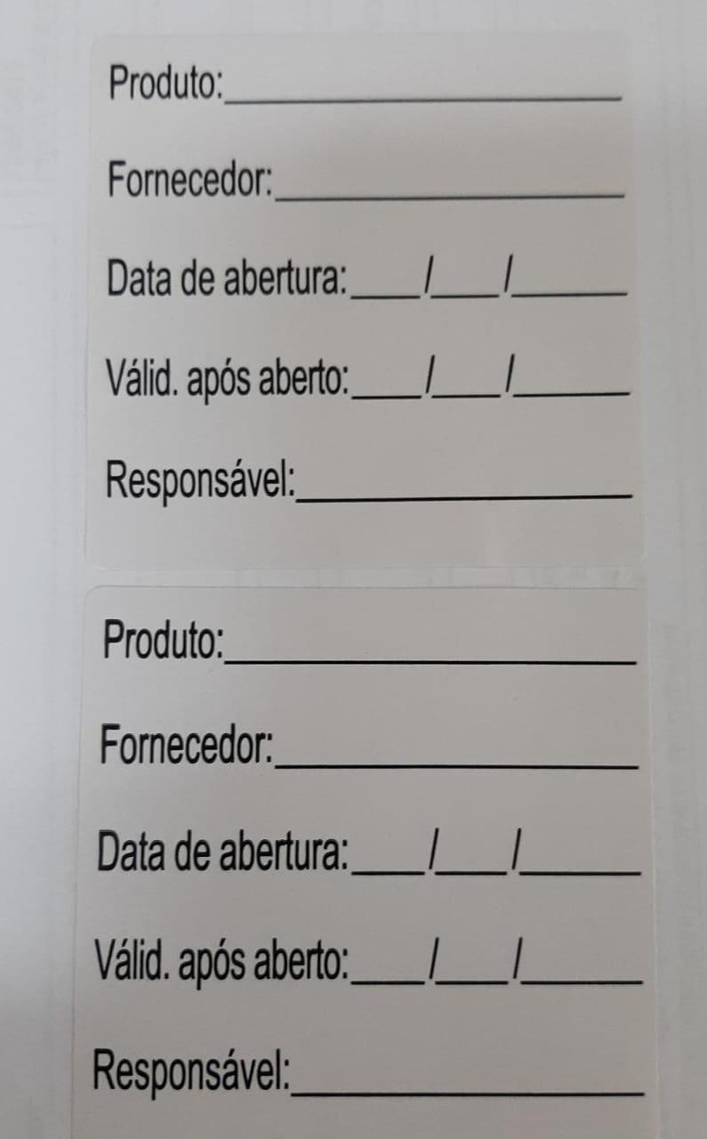 ETIQUETAS ANVISA IDENTIFICAÇÃO  DE ALIMENTOS 60mm x60mm COM 1000 - COUCHE PAPEL