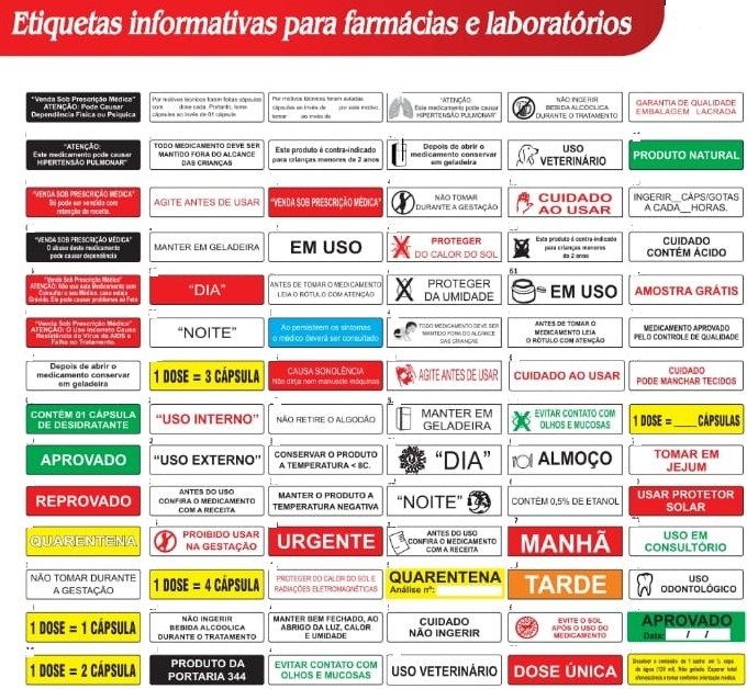 Etiquetas informativas para laboratorio e farmacias