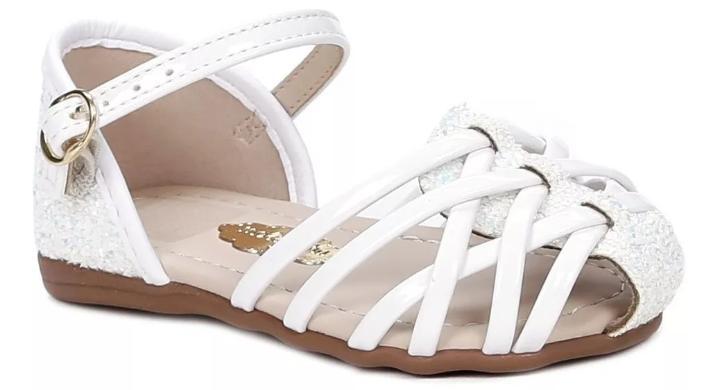 Sandália Molekinha Branco 2114.100 Verniz Gliter