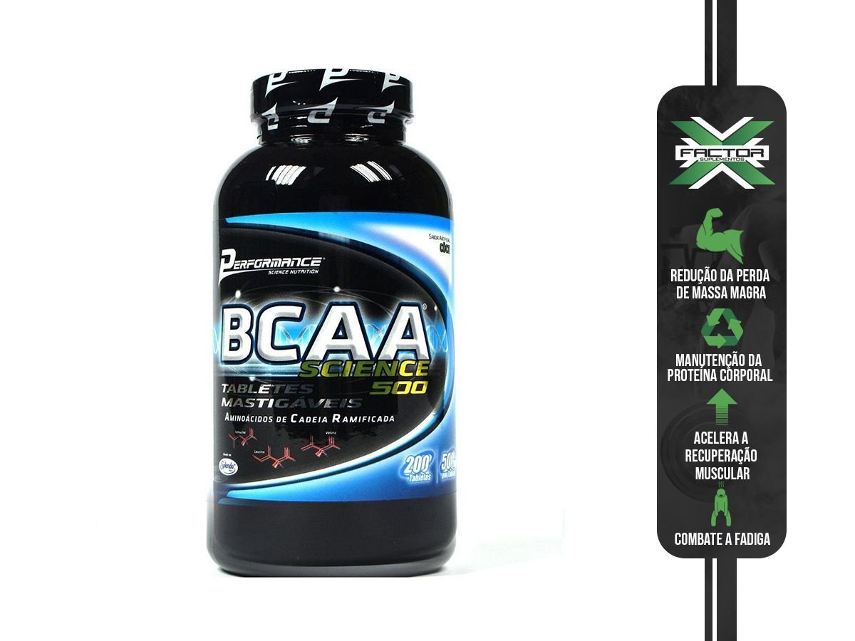 BCAA SCIENCE 500 - 200 TABS MASTIGÁVEIS - PERFORMANCE NUTRITION