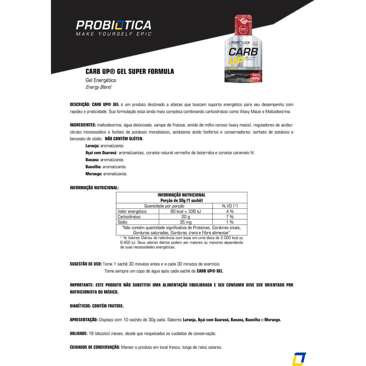 CARB-UP GEL BLACK (DISPLAY - 10 SACHES) PROBIOTICA