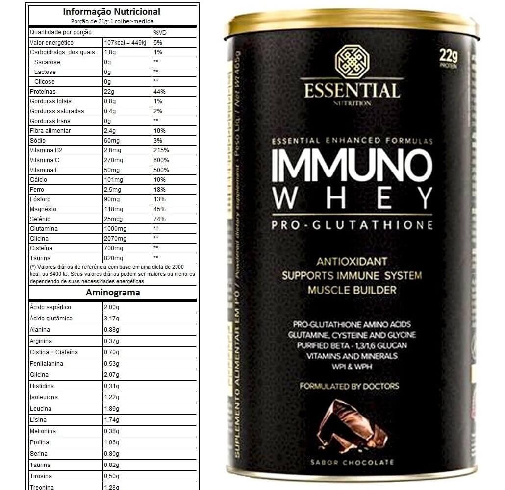 IMMUNO WHEY PRO GLUTHATIONE BAUNILHA - ESSENTIAL NUTRITION