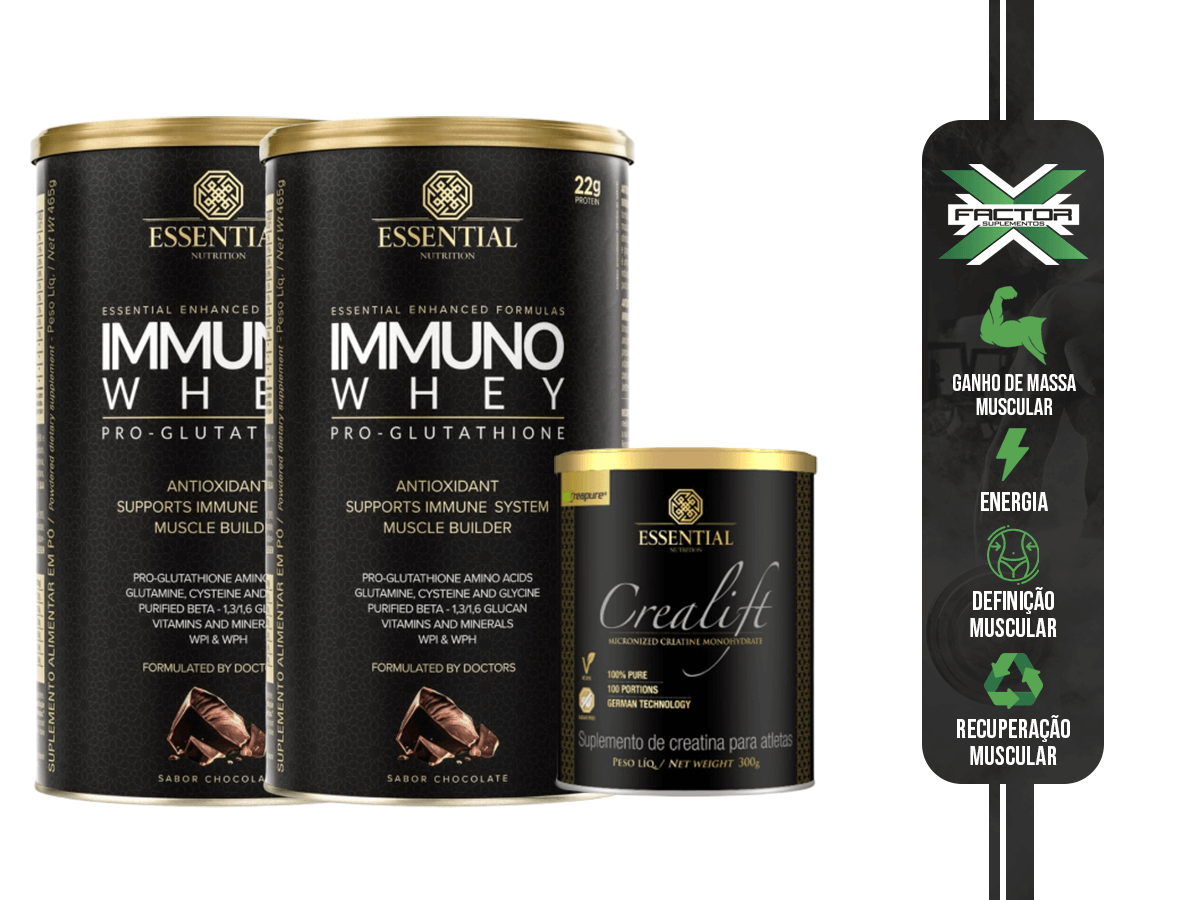 KIT ESSENTIAL NUTRITION 2X WHEY IMMUNO + CREATINA 300G