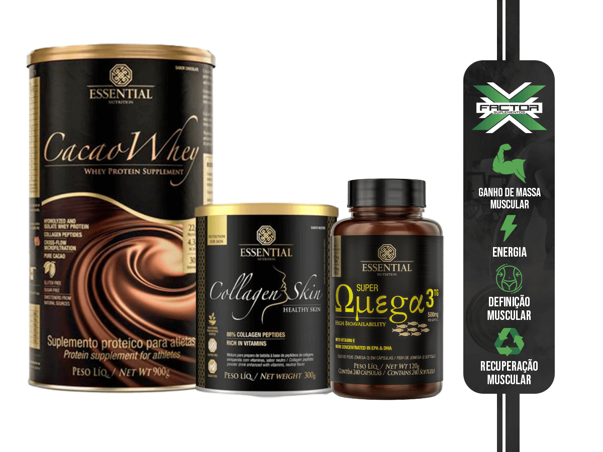 KIT ESSENTIAL NUTRITION CACAO WHEY 900G + COLAGENO SKIN 300G + SUPER OMEGA 3 120 CPS
