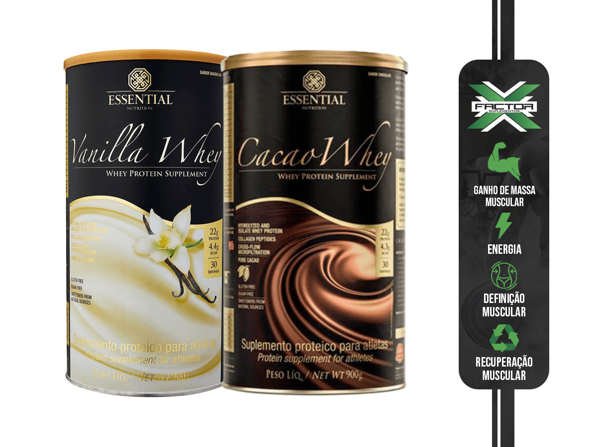 KIT ESSENTIAL NUTRITION CACAO WHEY 900G + VANILLA WHEY 900G