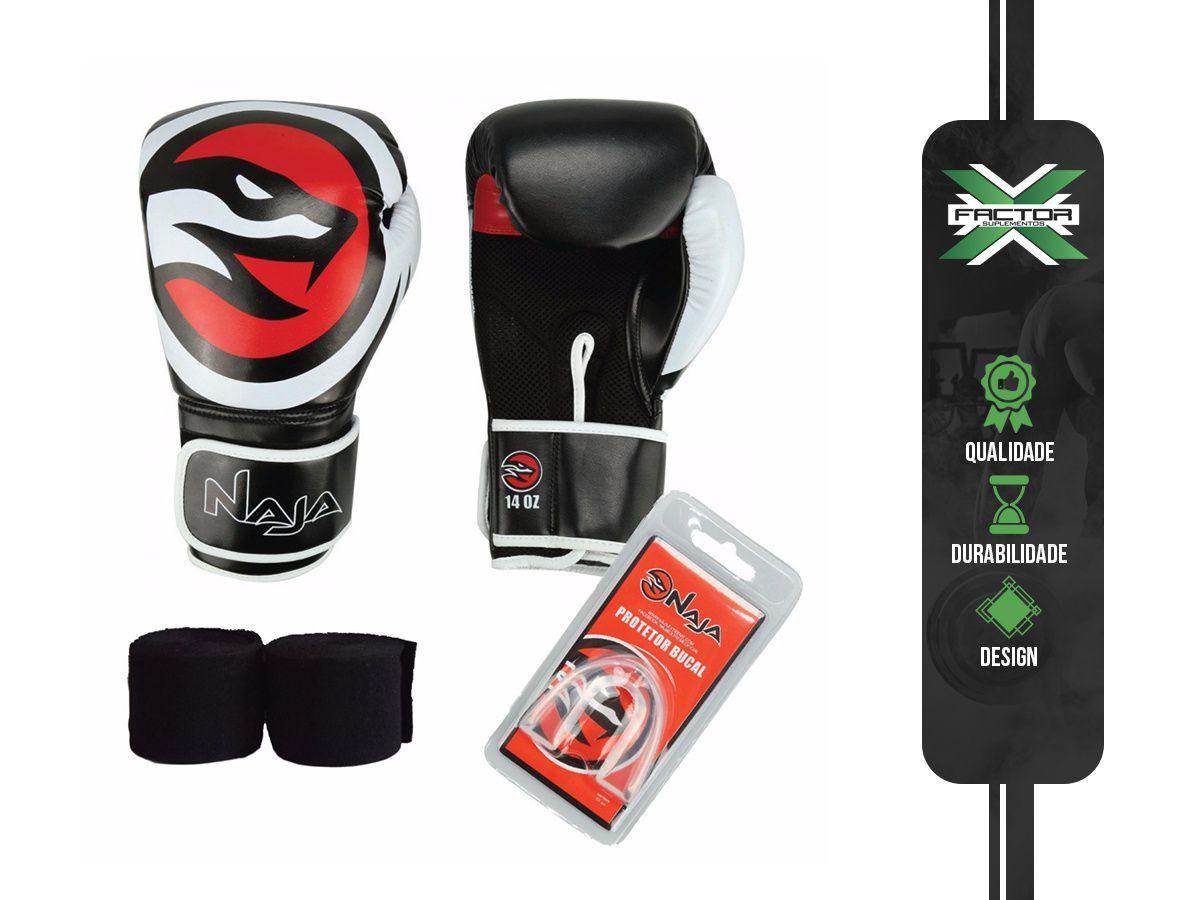 Kit Luva Boxe/Muay Thai Naja + Bandagem + Protetor Bucal 10/12/14/16Oz - PRETA