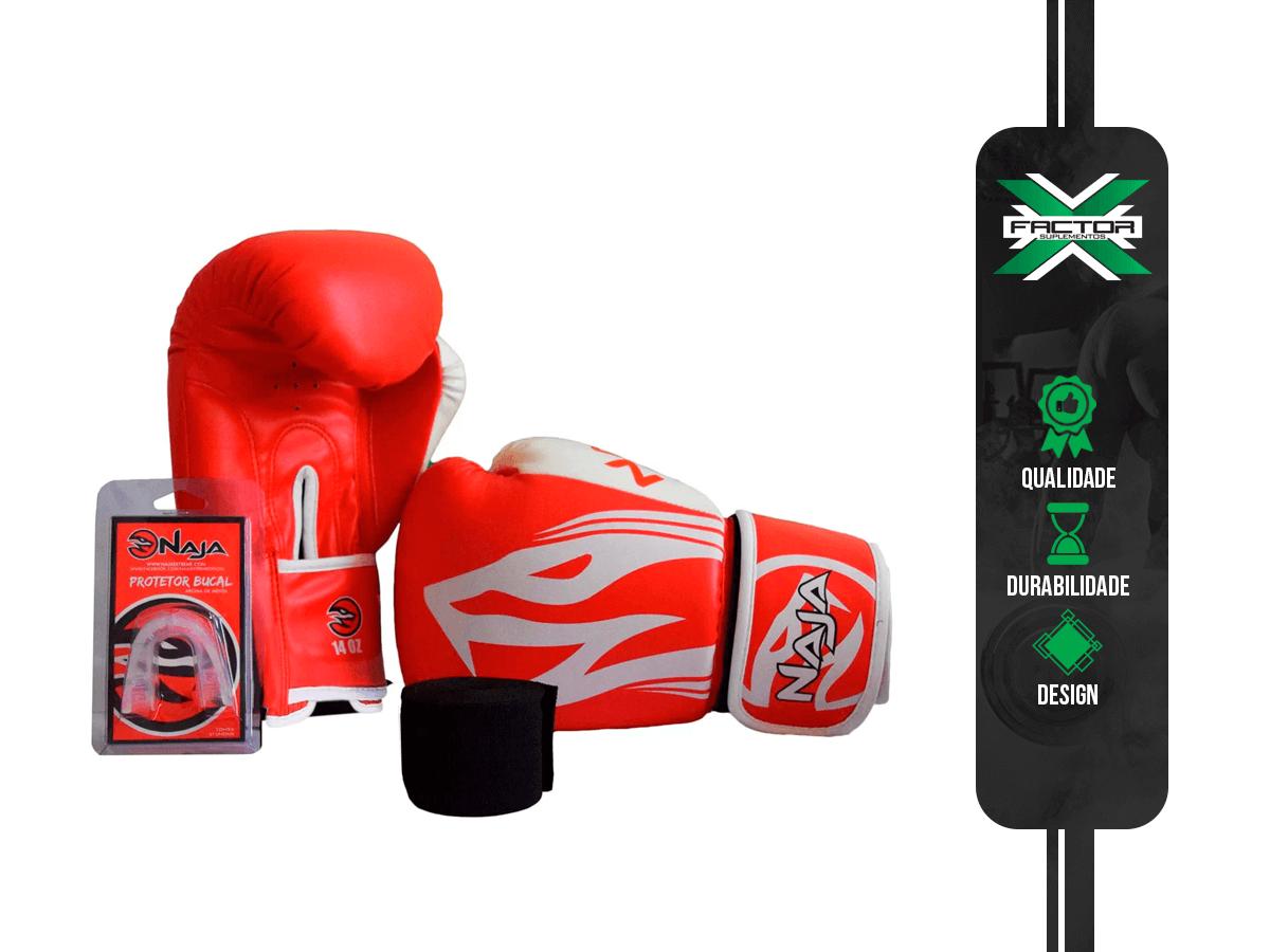 Kit Luva Boxe/Muay Thai Naja + Bandagem + Protetor Bucal 10/12/14/16Oz - VERMELHA