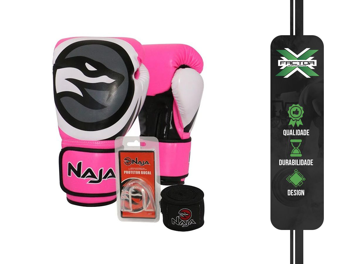 Kit Luva Boxe/Muay Thai Naja Colors + Bandagem + Protetor Bucal 10/12/14/16Oz - ROSA
