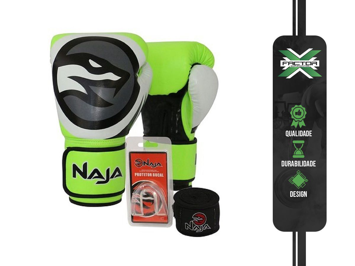 Kit Luva Boxe/Muay Thai Naja Colors + Bandagem + Protetor Bucal 10/12/14/16Oz - VERDE
