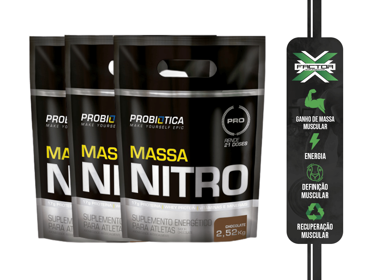 KIT PROBIÓTICA 3X MASSA NITRO REFIL 2,52KG