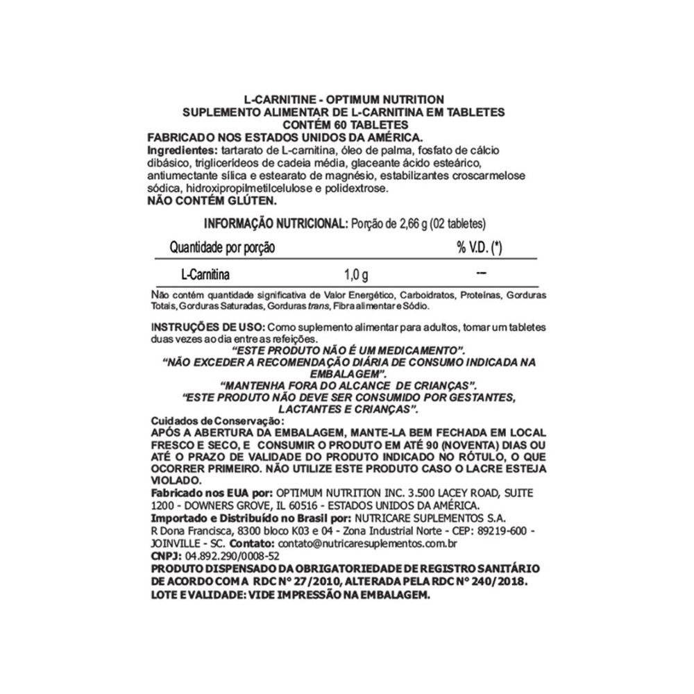 L-CARNITINA OPTIMUM 500MG 50TABS