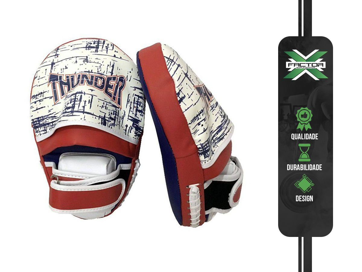 Manopla De Foco Longa Aparador De Soco E Chute - Muay Thai / Kickboxing / Mma - Thunder Fight
