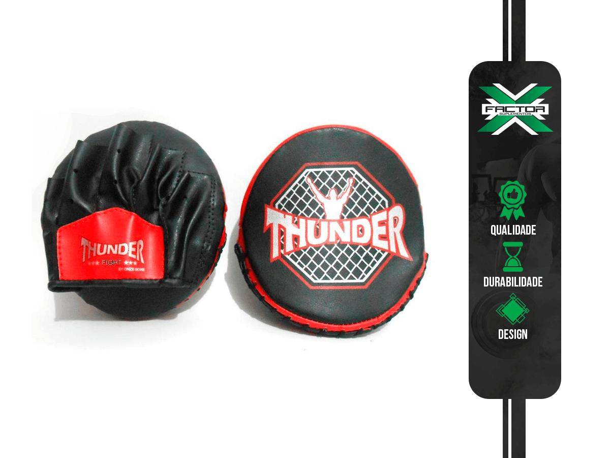 MANOPLA FOCO AZUL E VERMELHA  TAM UNICO - Muay Thai / Kickboxing / Mma - Thunder Fight