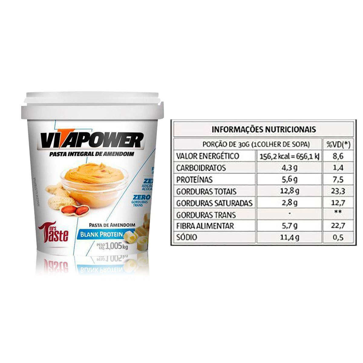 PASTA DE AMENDOIM CHOCOLATE BRANCO (1,005KG) VITAPOWER