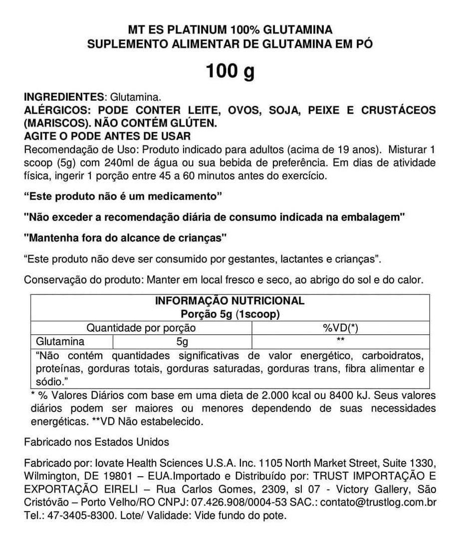 PLATINUM 100% GLUTAMINA (100G) MUSCLE TECH