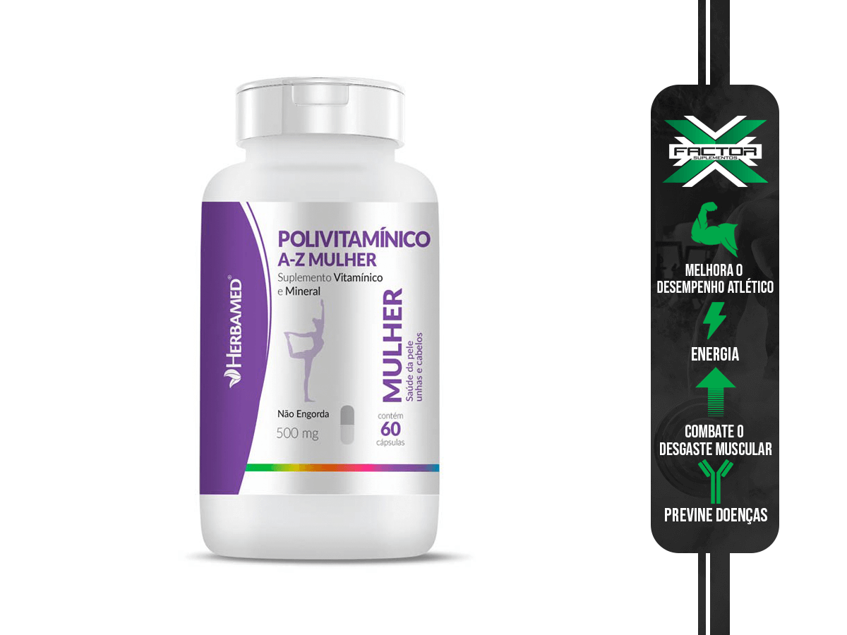 POLIVITAMINICO MULHER 60CAPS 500MG HERBAMED