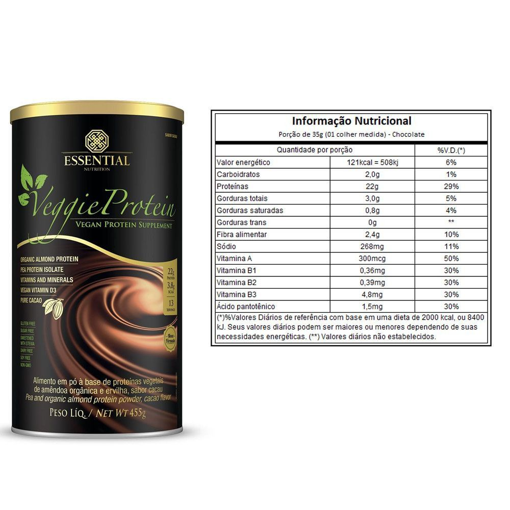 VEGGIE PROTEIN CACAU (455G) ESSENTIAL NUTRITION