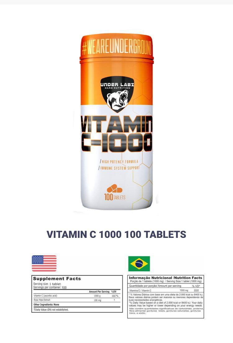 VITAMIN C 1000 100 TABLETES - UNDER LABZ
