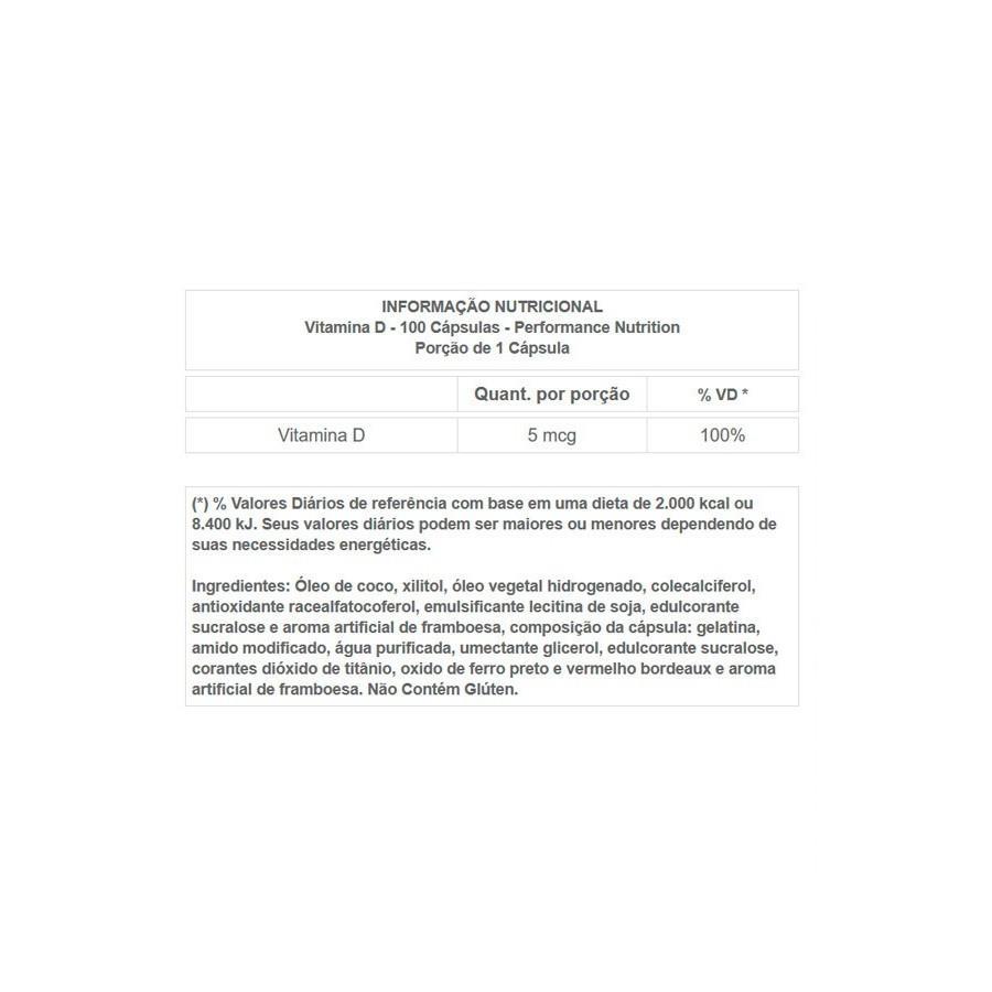 VITAMINA D FRAMBOESA 100 CAPSULAS - PERFORMANCE