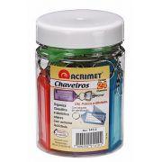Chaveiro Acrimet 141.3 com etiqueta de identificação caixa com 36 potes com 24 chaveiros sortidos ou de uma só cor total 864 chaveiros