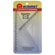 Conjunto Acrimet 566.0 de esquadro escolar de 30 e 60 graus com 16 centimetros