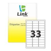 Etiqueta Ink-Jet e Laser A4 63,5 x 25,4cm folha com 33 etiqueas caixa com 100 folhas LinkEtiquetas
