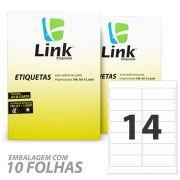Etiqueta Ink-Jet e Laser Carta 101,6 x 33,9cm folha com 14 etiqueas caixa com 100 folhas LinkEtiquetas