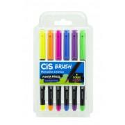 Marcador cis brush neon 1 ponta pincel estojo com 6 cores