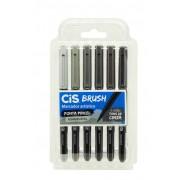 Marcador cis brush tons de cinza 1 ponta pincel estojo com 6 cores